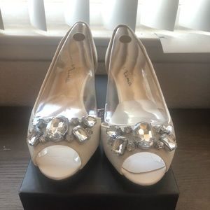White Wedding Comfy Wedges size 8